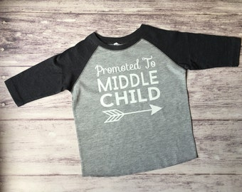 promoted to middle child shirt, pregnancy announcement shirt, soon to be middle child shirt, new baby announcement, middle child tee
