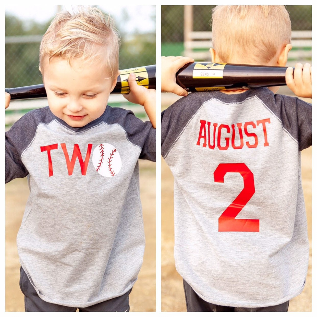 TWO Baseball Shirt 2nd Birthday Boys