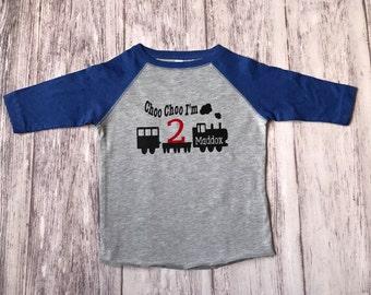 Choo Choo I'm 2 train birthday shirt, choo choo I'm 2, train t-shirt, train shirt, train birthday shirt, 2nd birthday shirt