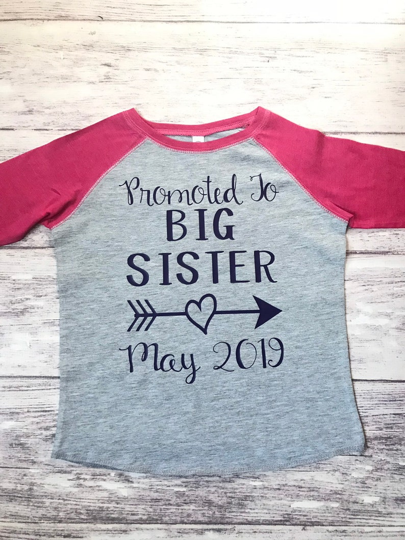 Rose Gold Custom Name Promoted To Big Sister Custom Date Baby T Shirt Baby New