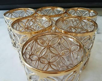 6 Imperial Glass Rocks Glasses, Shoji, Mid Century, Gold, Vintage, Bar
