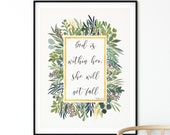 Psalm 46 5 God Is Within Her, She Will Not Fall Bible Verse Art Print