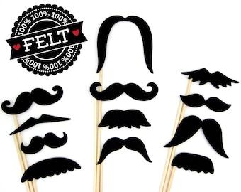 Felt Photo Booth Props - Mustache Props - Moustache on a Stick