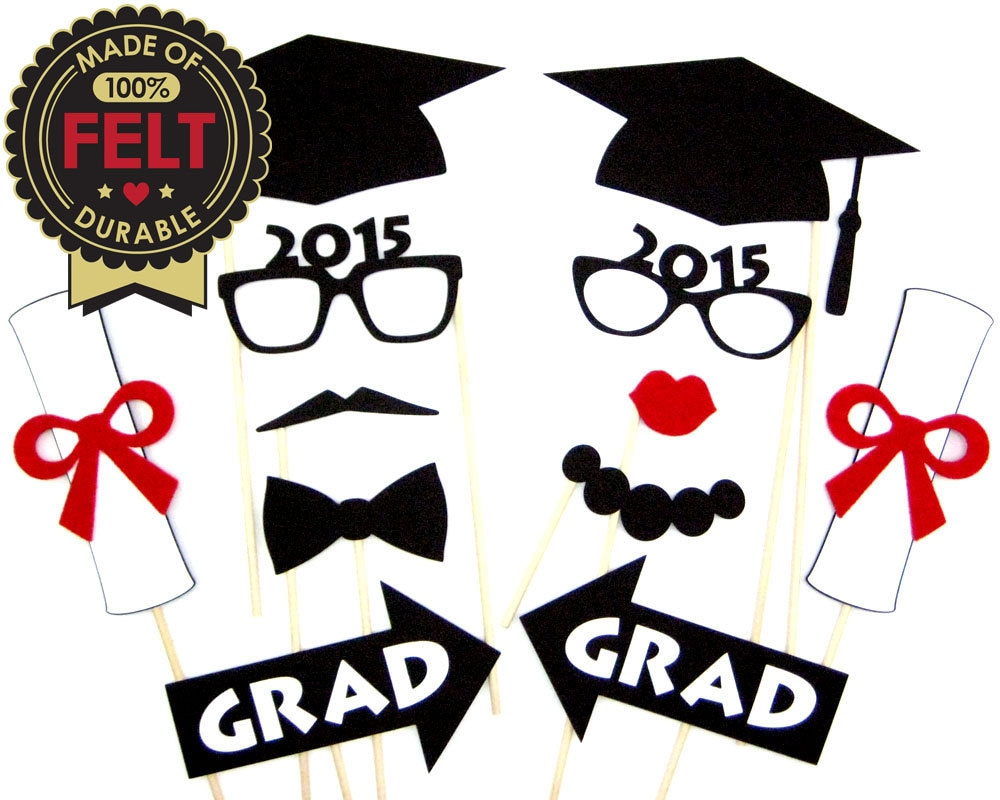 image about Free Printable Graduation Photo Booth Props named FELT Commencement Image Booth Props