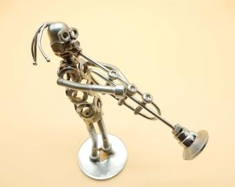 trumpet player sculpture scals  gift tayer trumpeter rock band steel trumpet  Art metal Metal sculpturer scrap metals