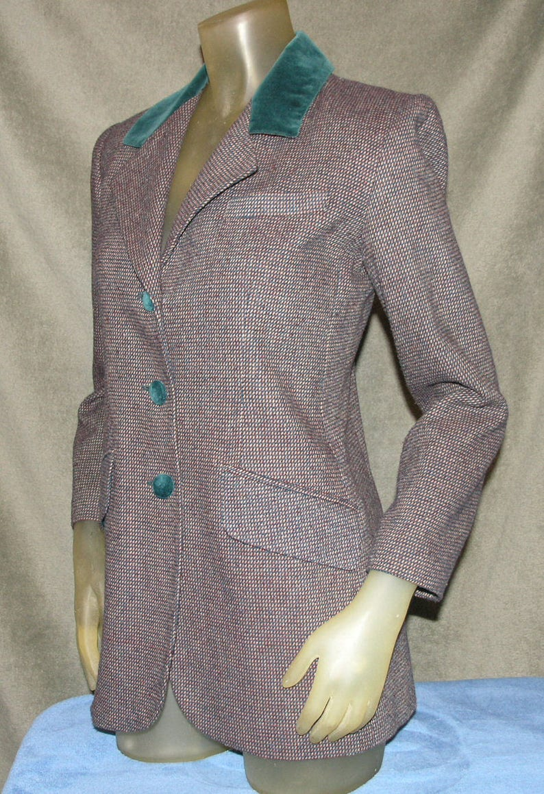 Party Houndstooth Blazer Holiday Career Vintage Blazer 1980/'s 1970/'s Good Condition Evening PETITE SOPHISTICATE