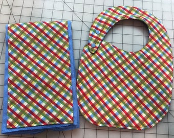 Blue and red plaid baby bib and burp cloth matching set