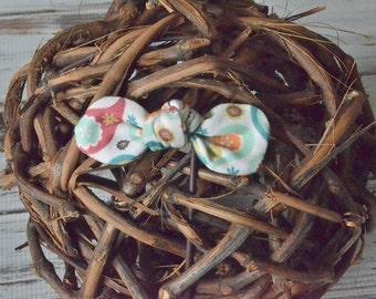 Paisley Knit Fabric Bow/Headband