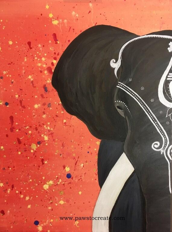 Elephant Head Painting With Orange Background Giclee Print Etsy