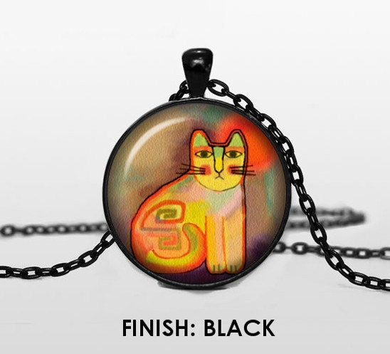 Silver Fumed Cat Pendant with black adjustable necklace.