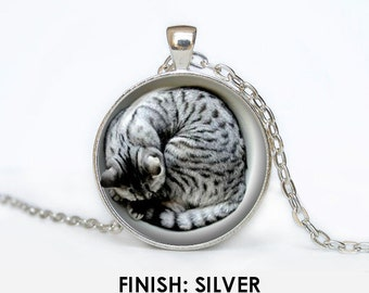 sleeping CAT Necklace, cat Jewelry, kitten gift for women handmade, silver bronze black animal Pendant - Scodinzolo in the aid of animals