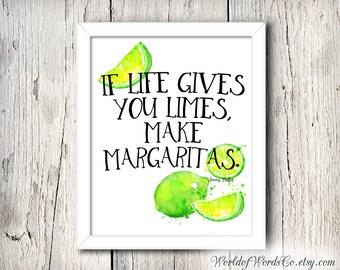 Jimmy Buffett Quote, Make Margaritas, Bar Decor, Kitchen Art, Wall Art, Nautical Decor, Bar Art, Limes, Wall Art, Bar Print, Tropical Art