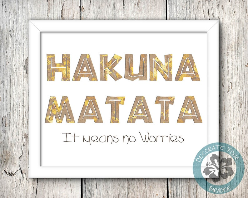 Hakuna Matata Print Disney Wall Art Lion King No Worries image 0