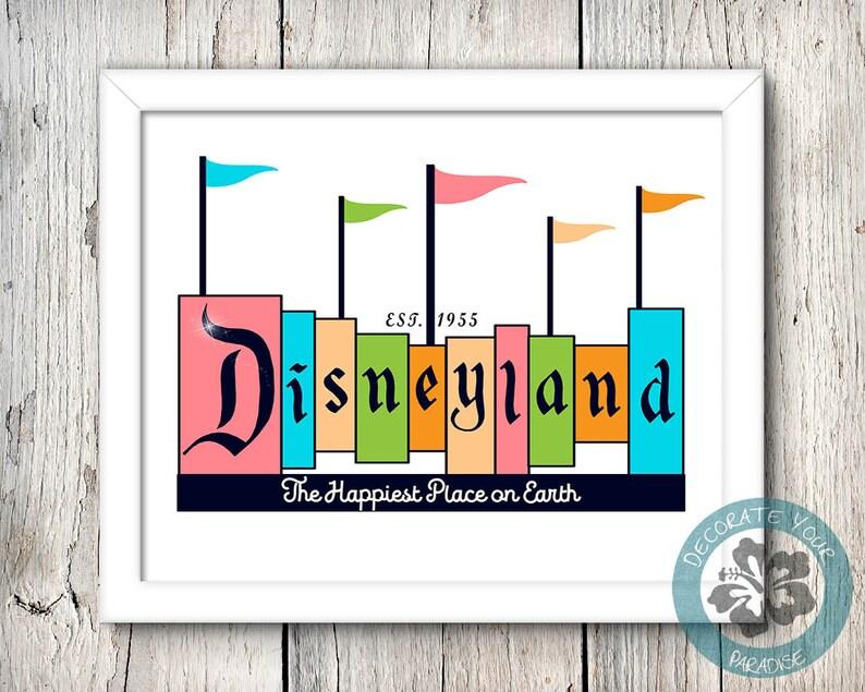 Disneyland Print Disneyland Sign Walt Disney Disney Decor image 0