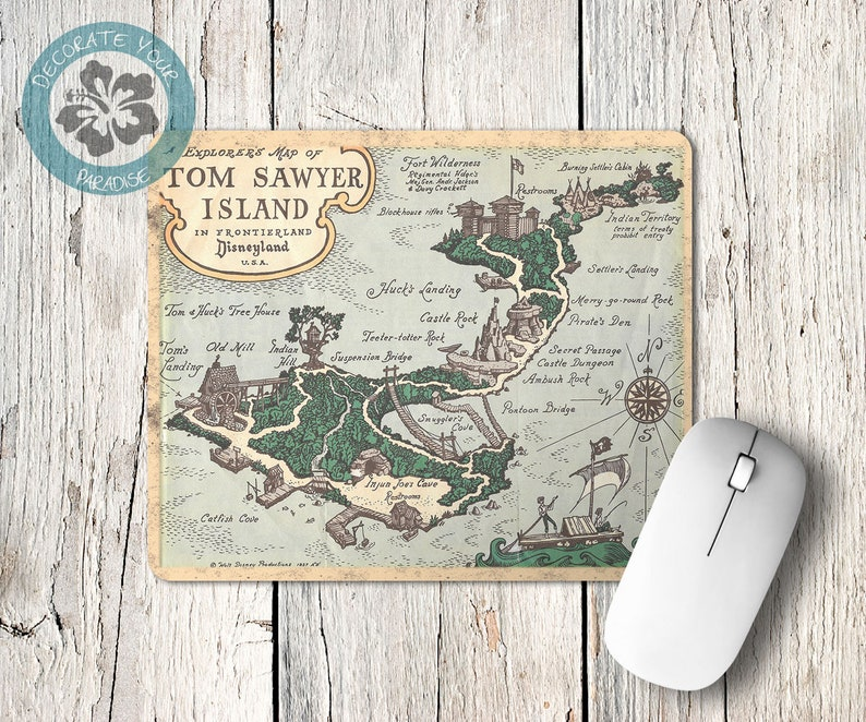 Vintage Tom Sawyer's Island Map Mousepad Mouse Pad image 0