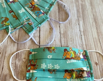 Scooby-Doo Mask, Scooby Pennant Mask, Scooby Teal Mask, Adult and Child Scooby Pleated Mask, Scooby-Do Mask, Child Teal Mask, Cartoon Mask