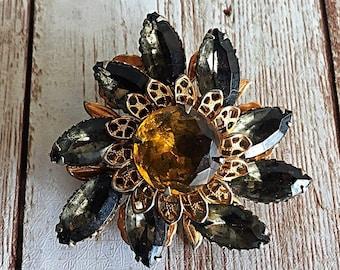 Vintage Rhinestone Brooch, Filigree Floral Brooch, Costume Jewelry, Estate Brooch, Gift for Her, Floral , Amber Brooch, Black Navarrete