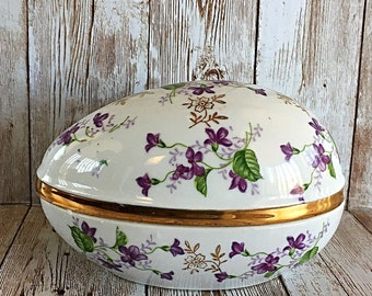 Voilet Chintz Trinket Box, Norleans Egg, Violet Jewelry Egg, Vintage Egg, Jewelry Box, Porcelain Box, Norleans Egg, Violet Trinket Box