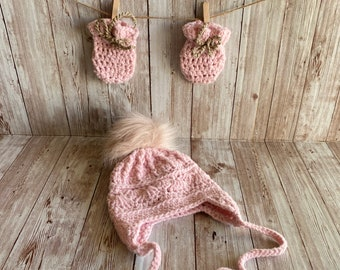Crochet Baby Hat, Pink Crochet Trapper Hat, Crochet Baby Mittens, Non Scratch Mittens, Crochet Baby Set, New Baby Gift, Parent To Be Gift