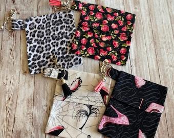Mask Keychain Holder, Leopard Mask Bag, Face Mask Pouch, Chapstick Holder, Rose Mask Bag, Backpack Charm, Pink Mask Bag, Keychain Charm