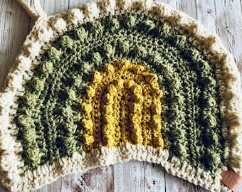 Bobble Rainbow Blanket, Pacifier Holder, Crochet Rainbow Fur Lovey, Boho Nursery, Nursery Décor, Organic Rainbow Baby, Boho Baby Gift