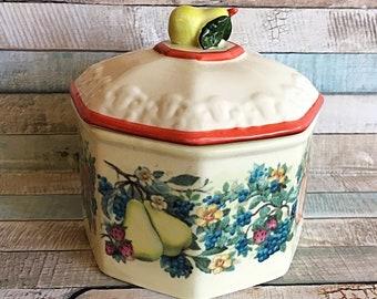 Avon Sweet Country Harvest Flour Jar, Vintage Avon Country Harvest Ceramic Jar, Country Flour Jar, Ceramic Cookie Jar, Avon Cookie Jar, Jar