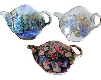 Italy Teapot, Melamine Tea Holders, Vintage Italy, Teapot Spoon Rest, Vintage Spoon Rest, Vintage Teapot, Teabag Holder, Spoon Rest Holders