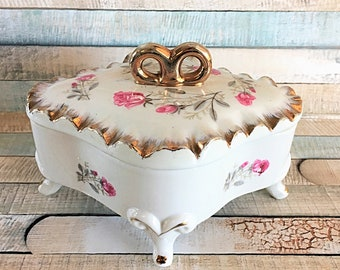 Rose Porcelain Box, Porcelain Footed Box, Jewelry Box, Gift, Gift For Her, Vintage Japan,Rose Snuff Box, Trinket Box, Mom Gift, Unique Gift