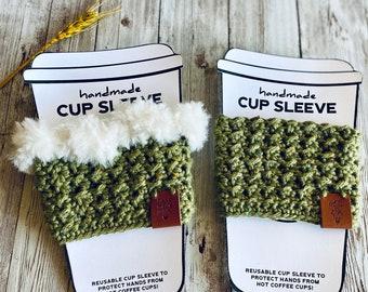 Crochet Coffee Cozy Gift Set, Hot Coco Cozy, Coffee Cozy, Holiday Coffee Cozy, White Elephant Gift, Holiday Gift, Gift Card Holder, Holiday