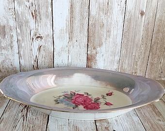 Iridescent Rose Relish Bowl, Rose Porcelain, Rose Relish Bowl, Relish Bowl, Iridescent Bowl, Relish Serving Bowl, Vintage Porcelain