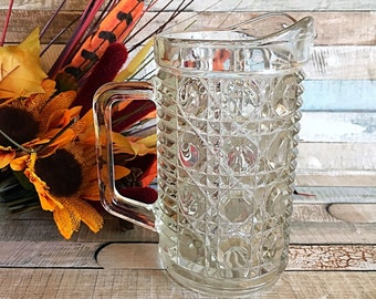 Vintage Windsor Buttons and Cane, Windsor Pint Pitcher, Vintage Pitcher, Windsor Pint Pitcher, Vintage Pressed Glass, Federal Glass Tumblers