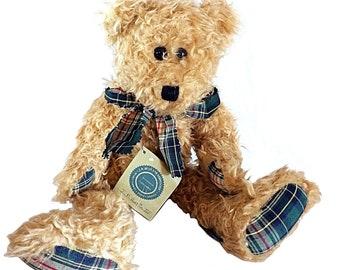Boyd Bear, Green Plaid Bear, Teddy Bear, Boyd Gift, Holiday Bear, Vintage Boyd, Boyd Collectible, Blue Plaid Bear, Plaid Bear, Old
