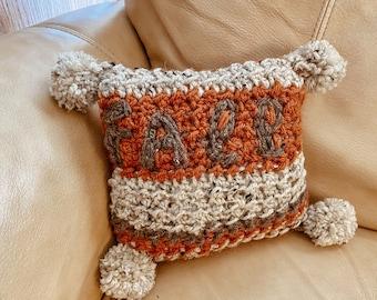 Fall Pillow, Crochet Pillow, Fall Accent Pillow, Baby Pillow, Throw Pillow, Holiday Pillow, Pillow with Pom Tassels, Baby Fall, Fall Décor