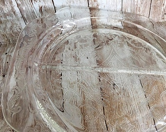 Indiana Recollection, Clear Grill Plate, Divided Glass Plate, Indiana Glass Plate, Indiana Clear Plate, Vintage Indiana Glass, Indiana Clear