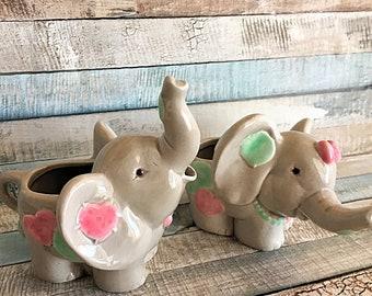 Elephant Creamer, Enesco Elephant, Kitsch Creamer, Elephant, Retro Creamer, Patchwork Elephant, Elephant Sugar Bowl, Retro Elephant, Enesco