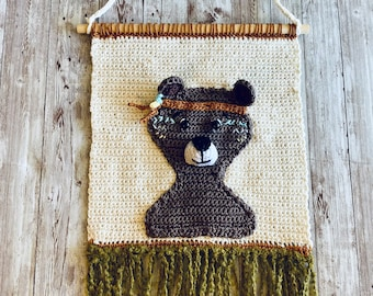 Crochet Wall Hanging Nursery Bear Woodland Décor, Crochet Wall Hanging, Crochet Décor, Wall Décor, Boho Nursery, Nursery Wall Décor, New Mom