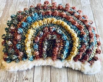 Bobble Rainbow Pillow, Crochet Rainbow Fur Pillow, Boho Nursery, Nursery Décor, Organic Rainbow Baby, Boho Baby Gift, Rainbow Pillow, Boho