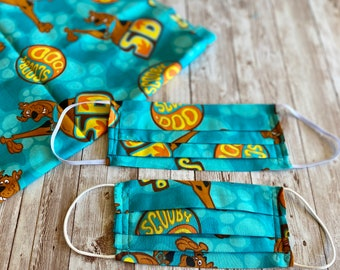 Teal Scooby-Doo Mask, Adult and Child Scooby Pleated Mask, Scooby-Do Mask, Child Blue Mask, Scooby Novelty Print, Mystery Machine Mask