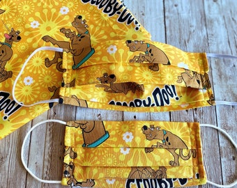 Scooby-doo Face Mask, Scooby Floral Print, Scooby doo Face Mask, Scooby Orange Mask, Child Mask, Scooby Doo Orange Print