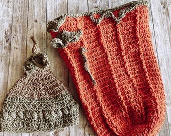 Baby Shower Gift Set, Baby Swaddle, Baby Fall, Crochet Cocoon, Pumpkin Costume, Baby Photo Prop, Fall Nursery, Nursery Boho, Baby Boho