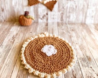 Pumpkin Décor, Pumpkin Pie Hot Pad, Pumpkin Pot Holder, Pie Hot Pad, Crochet Pie, Crochet Pumpkin, Fall Kitchen, Cotton Pot Holder, Desert