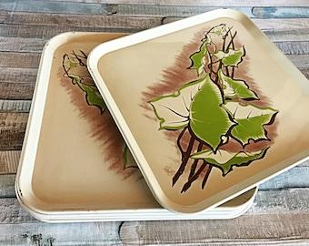 Vintage Metal Tray, Tin Snack Tray, Vintage Tin, Vintage Tray, Leaf Tray, Metal TV Tray, Tin Serving Tray, Old Tray Set, Party Tray Set