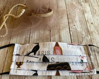 Paris Adult Pleated Mask, Paris Print Mask, Novelty Print Mask, Mask Bag, Drawstring Bag, Cotton Mask, Pink Cotton Mask, Girls Paris Mask