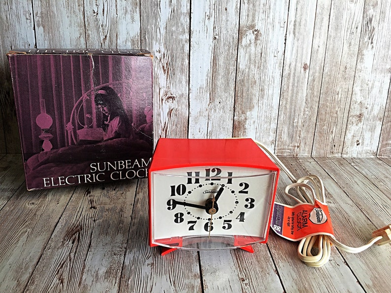 Vintage Sunbeam Alarm Clock Red 1967 Alarm Clock Sunbeam image 0