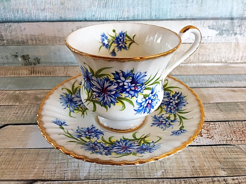 Paragon China Blue Floral Teacup Paragon Forget Me Not image 0