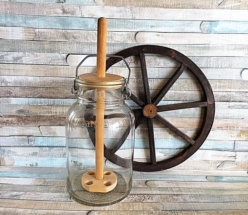 Vintage Owens Glass Butter Churn One Gallon Bale Handle Jar image 0