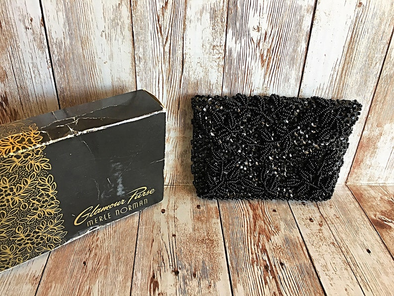 Vintage Glamour Purse Merle Norman Purse Black Beaded Coin image 0