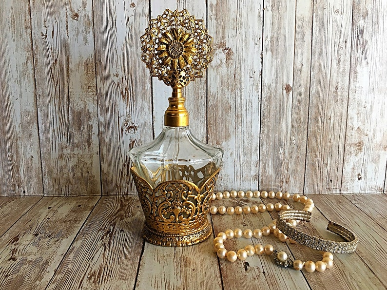 Vintage Globe Perfume Bottle Ormolu Perfume Bottle Gold image 0