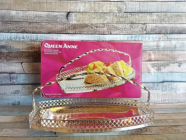 Queen Anne Tray Vintage Queen Anne Sandwich Server England image 0