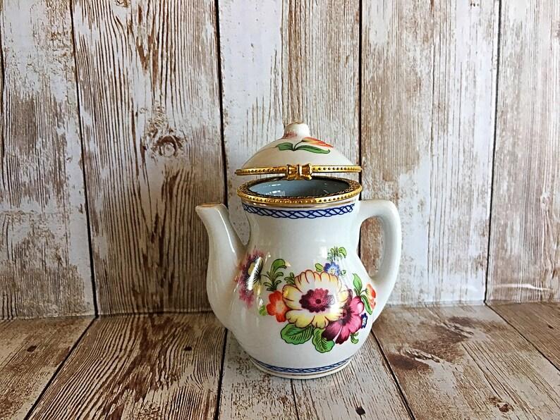 Teapot Trinket Box Porcelain Trinket Box Hinged Ring Box image 0